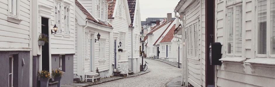 Street with white houses